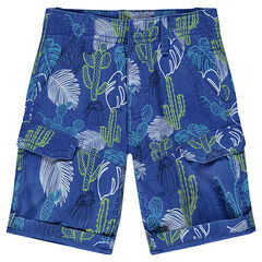 Twill bermuda shorts with printed plants