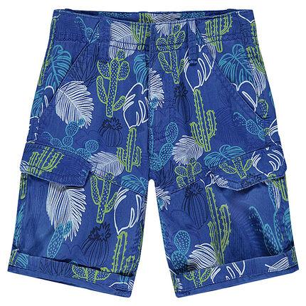 Junior - Twill bermuda shorts with plant print