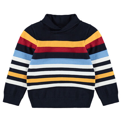 Knit sweater with contrasting jacquard stripes and roll neck.