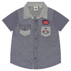 Short-sleeved shirt with pocket and ©Smiley badges