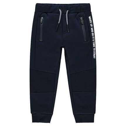Sweatpants with zipped pockets and printed messages