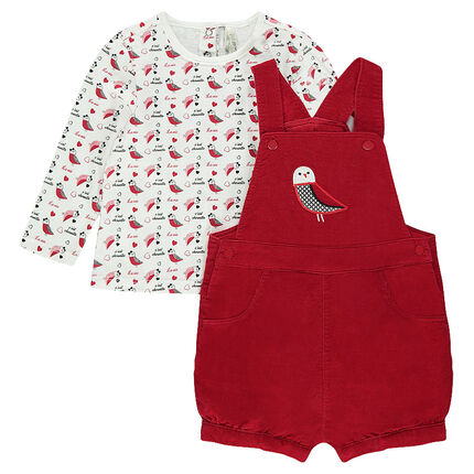 Ensemble with printed tee-shirt and short velvet overalls