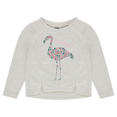 Fleece sweatshirt with asymmetrical seams and decorative print