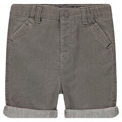 Overdyed honeycomb cotton bermuda shorts