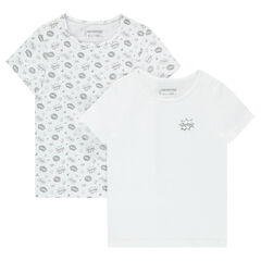 Set of 2 short-sleeved plain/printed jersey tee-shirts