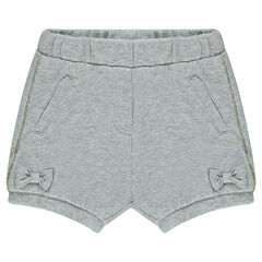 Fleece shorts with bows and crown-shaped badges
