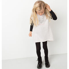 Short-sleeved fleece dress with printed heart and butterfly