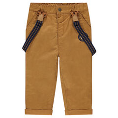Jersey-lined cotton pants with removable suspenders