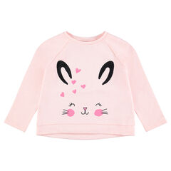 Fleece sweatshirt with a printed rabbit and sparkly details