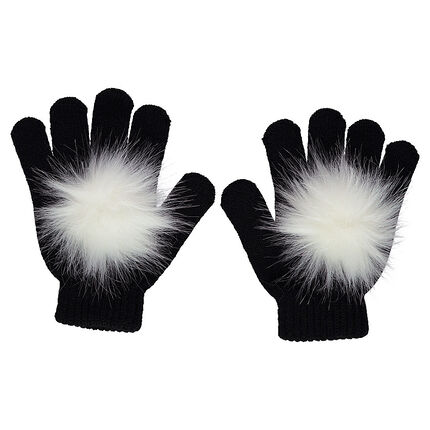 Knitted gloves with faux fur pompoms