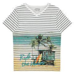 Junior - Short-sleeved striped jersey tee-shirt with a sublimation landscape print