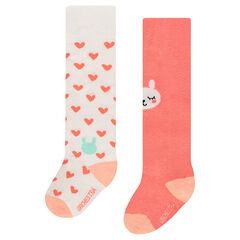 Set of 2 pairs of thick tights with jacquard hearts and animal
