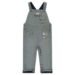 Poplin overalls with microfleece lining and pockets