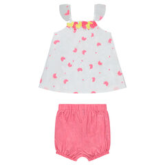 Ensemble with a printed tunic and bloomers in cotton voile