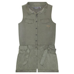 Romper in Tencel with pockets and a knotted belt