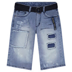 Junior - Denim bermuda shorts with patches and a removable belt