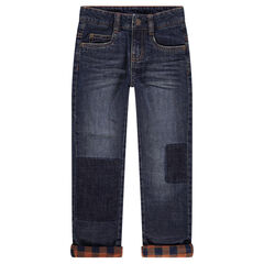 Used- and crinkled-effect jeans with a checkered flannel lining