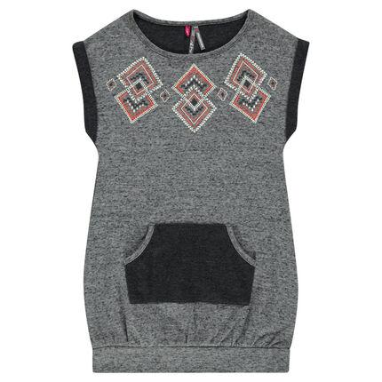 Heathered fleece dress with decorative geometric print