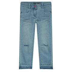Used-effect jeans with ripped legs