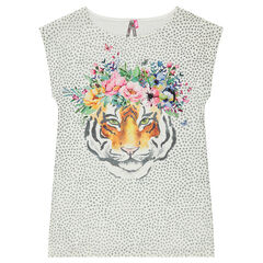 Junior - Short-sleeved tunic with an allover print and a printed tiger