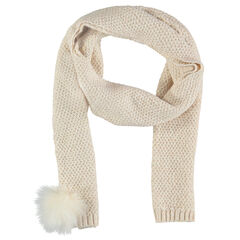 Knit scarf with pompom