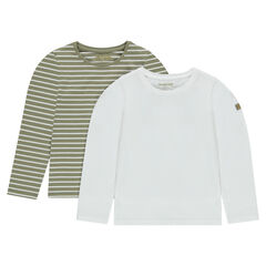 Set of 2 plain-colored/striped jersey undershirts