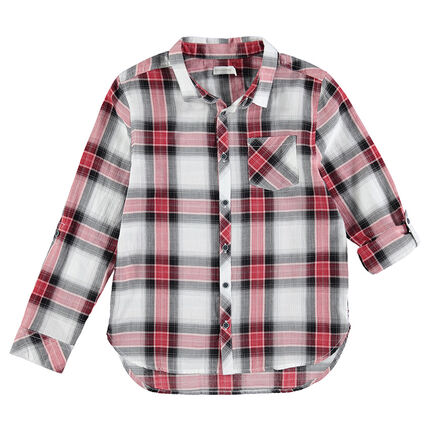 Junior - Long-sleeved contrasting maxi-checkered shirt with pocket