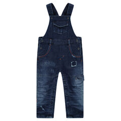 Distressed denim-effect fleece overalls with pockets