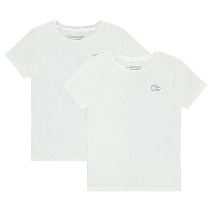 Set of 2 plain-colored, cotton tee-shirts with printed logo