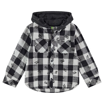 Long-sleeved checkered shirt with a contrasting hood