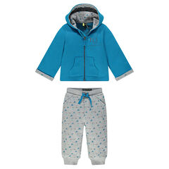 Fleece sweatsuit with geometric motif