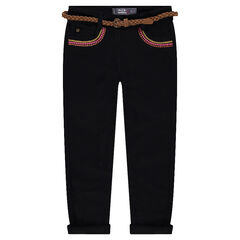 Slim fit twill pants with embroidery and a removable braided belt