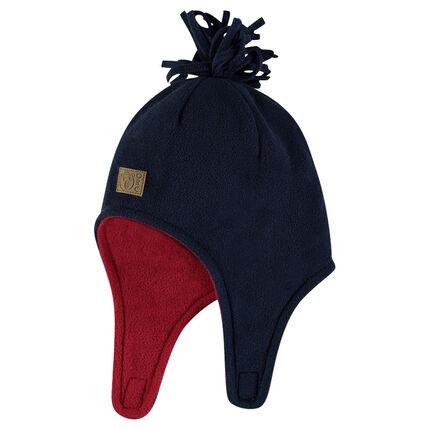 Two-tone microfleece cap with sewn pompom