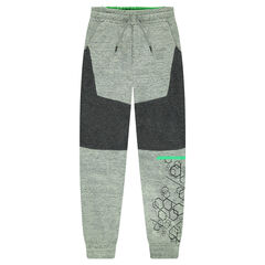 Fleece jogging pants with geometric pattern