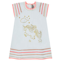 Short-sleeved knit dress with unicorn print