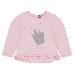 Fleece sweatshirt with printed crown and ruffles