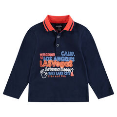 Long-sleeved jersey polo shirt with message