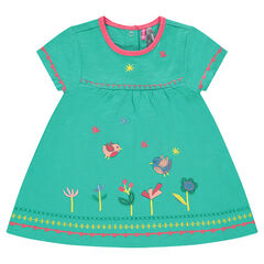 Slub jersey tunic with decorative embroidery