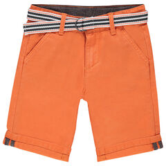 Plain-colored twill bermuda shorts with an adjustable and removable belt