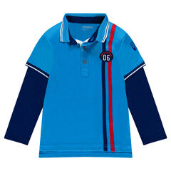Polo shirt with double sleeve effect and badge