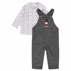 Ensemble with cotton overalls and a tee-shirt with a penguin print
