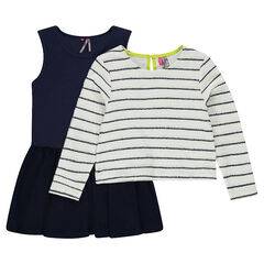 Ensemble with a sleeveless frilled dress and a striped fleece sweater