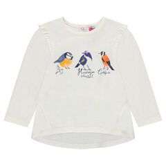 Slub jersey tunic with frills and bird print