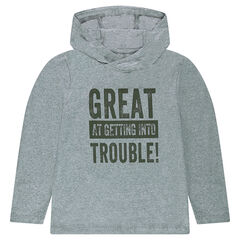 Junior - Hooded long sleeve t-shirt with print inscription