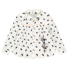 Flared shirt with printed bows and Disney Minnie mouse print