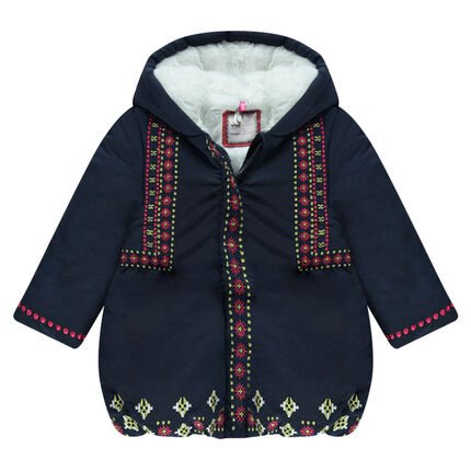 Sherpa-lined hooded parka with embroidery
