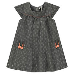 Chambray short sleeve dress with rabbits printed all-over