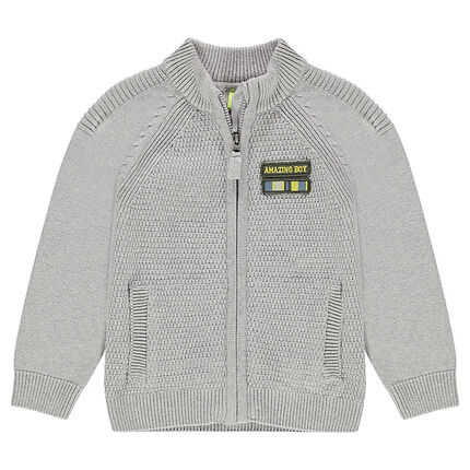 Zipped knit cardigan with a badge patch on the chest