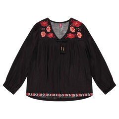 Light cardigan in crepon with embroidered flowers