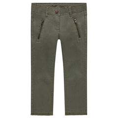 Plain-colored skinny fit twill pants